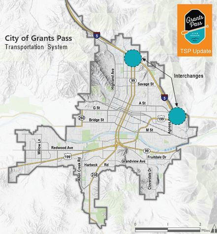 City of Grants Pass Map with Freeway Exits 55 and 58 circled