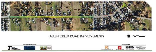 Aerial View of Allen Creed Road and area to be improved