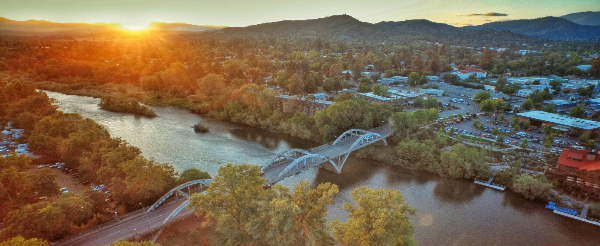 Caveman Bridge Aerial View at Sunset